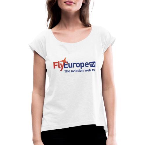 FlyEurope.TV red blue - Maglietta da donna con risvolti
