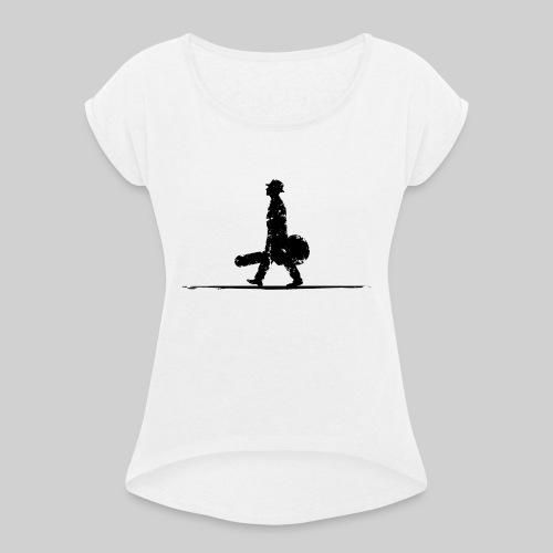 Schwarz ohne Schrift - Frauen T-Shirt mit gerollten Ärmeln