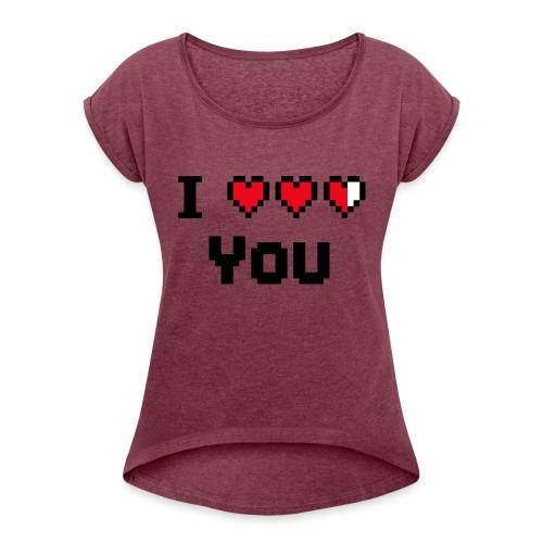 I pixelhearts you - Vrouwen T-shirt met opgerolde mouwen