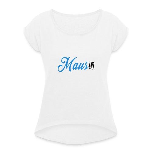 Hoesje MAUS 8Bit Blauw - Vrouwen T-shirt met opgerolde mouwen