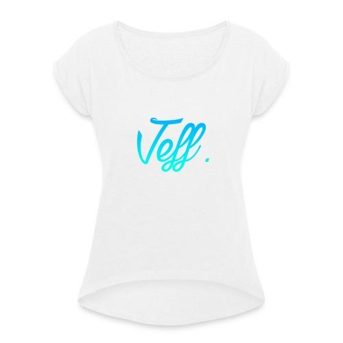 Jeff. 6/6s Hoesje - Vrouwen T-shirt met opgerolde mouwen