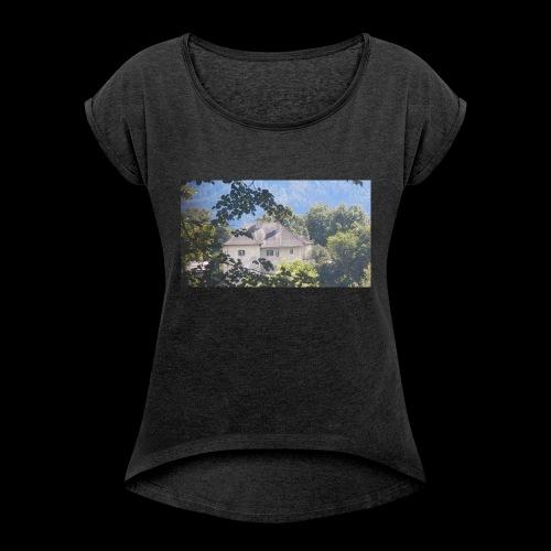 Altes Haus Vintage - Frauen T-Shirt mit gerollten Ärmeln