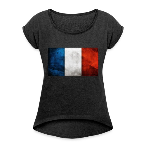 France Flag - Women's T-Shirt with rolled up sleeves