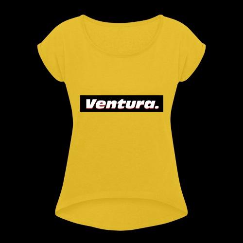 Ventura Black Logo - Vrouwen T-shirt met opgerolde mouwen