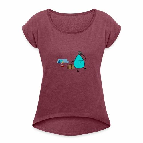 plectrumblauw - Vrouwen T-shirt met opgerolde mouwen