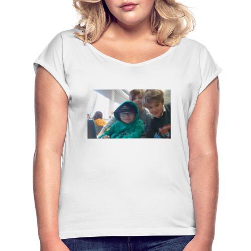 hihi - T-shirt med upprullade ärmar dam