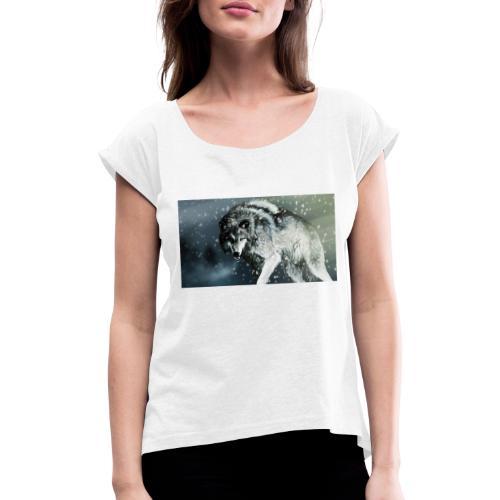 Wolf - Camiseta con manga enrollada mujer
