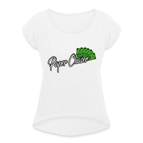 PAPER CHASER TSHIRT - Vrouwen T-shirt met opgerolde mouwen