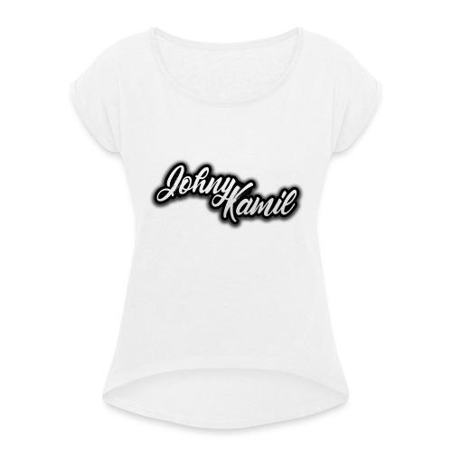 JohnyKamil v2 - Koszulka damska z lekko podwiniętymi rękawami