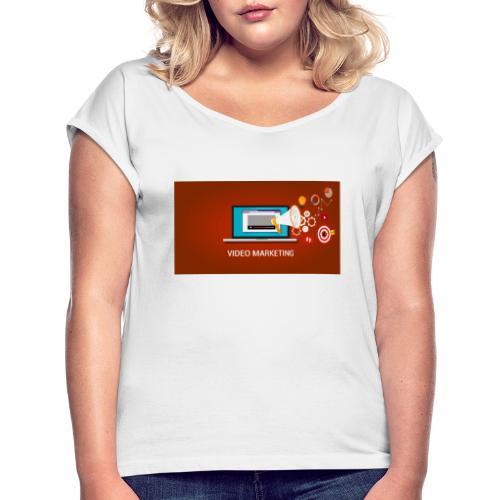 video marketing - Camiseta con manga enrollada mujer