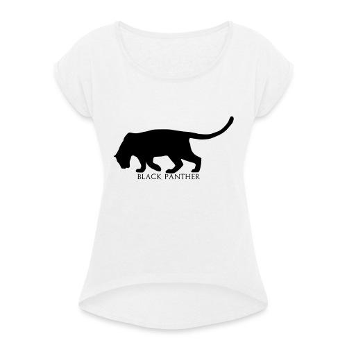 Panther-Text-Under - T-skjorte med rulleermer for kvinner