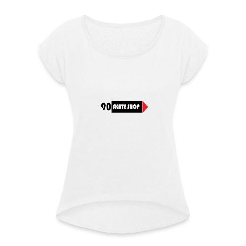 90 skate shop - Camiseta con manga enrollada mujer