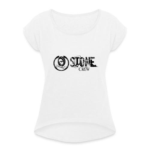 Stone Crew Banner Neu 300dpi schwarz Vector - Frauen T-Shirt mit gerollten Ärmeln