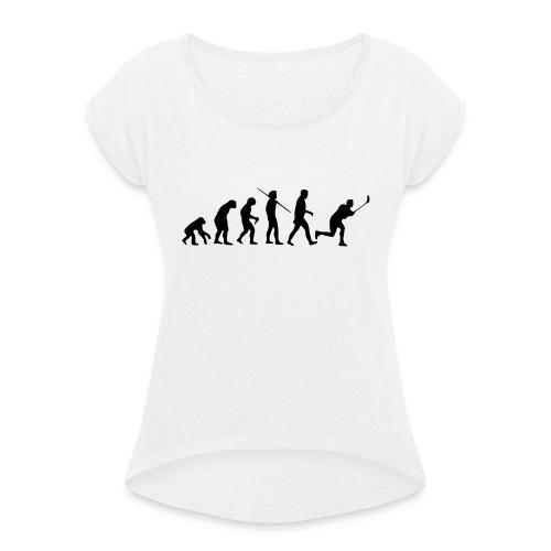 Floorball Evolution Black - Frauen T-Shirt mit gerollten Ärmeln