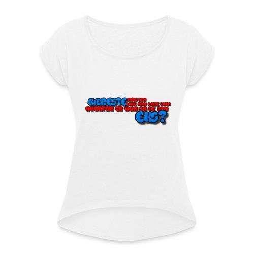 Forklæde med tekst - Dame T-shirt med rulleærmer