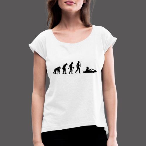 Kartevolution - Frauen T-Shirt mit gerollten Ärmeln