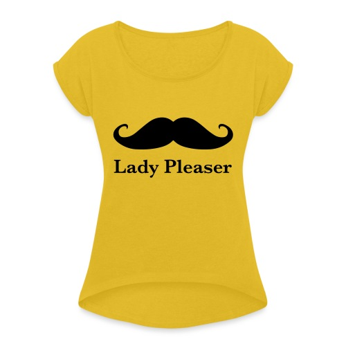 Lady Pleaser T-Shirt in Green - Women's T-Shirt with rolled up sleeves