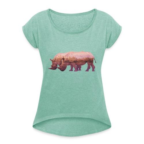 Nashorn Alpen - Frauen T-Shirt mit gerollten Ärmeln