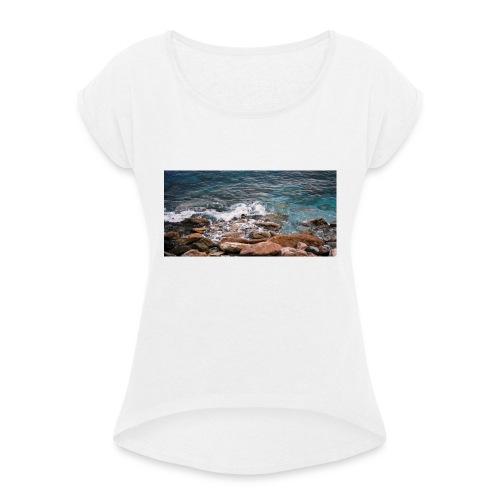 Handy Hülle Meer - Frauen T-Shirt mit gerollten Ärmeln