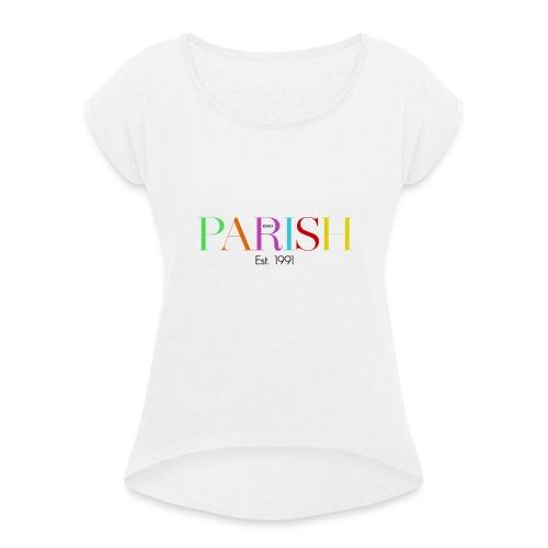 Jessica Parish Color-Schriftzug - Frauen T-Shirt mit gerollten Ärmeln