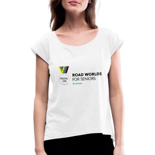 RoadWorlds - Horizontal logo - T-skjorte med rulleermer for kvinner