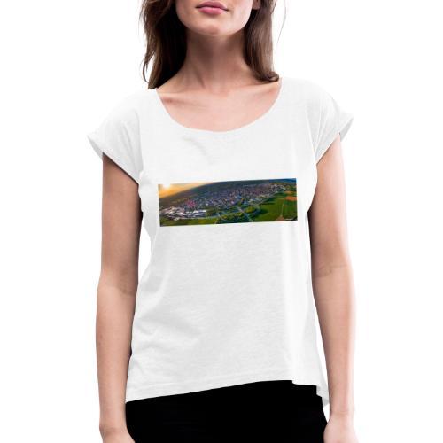Viernheim von oben - Frauen T-Shirt mit gerollten Ärmeln