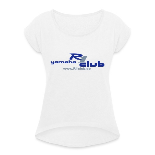 R1club Logo blau - Frauen T-Shirt mit gerollten Ärmeln