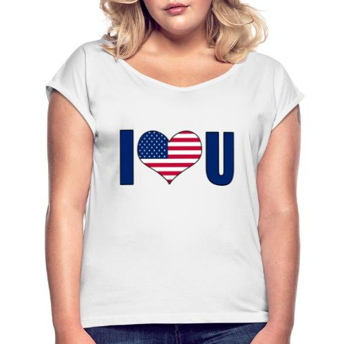 I love u USA - T-skjorte med rulleermer for kvinner