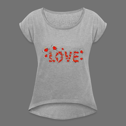 Flying Hearts LOVE - Women's T-Shirt with rolled up sleeves