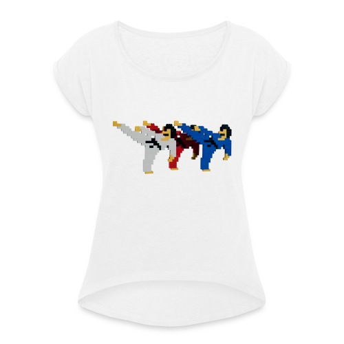 8 bit trip ninjas 2 - Women's T-Shirt with rolled up sleeves
