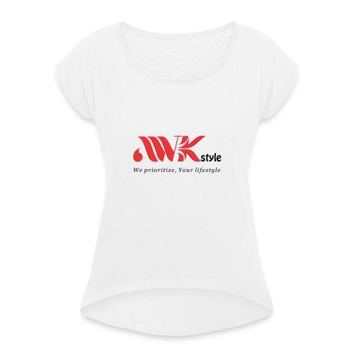 awkstyle - T-shirt med upprullade ärmar dam