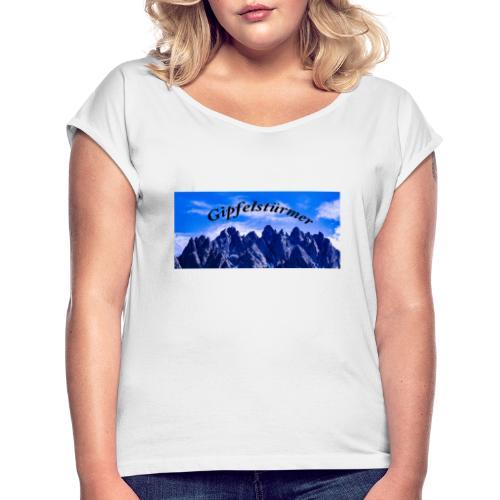 Dolomitenpanorama - Frauen T-Shirt mit gerollten Ärmeln