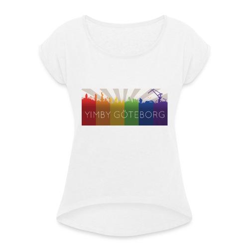 Yimby regnbågs-Tshirt - T-shirt med upprullade ärmar dam
