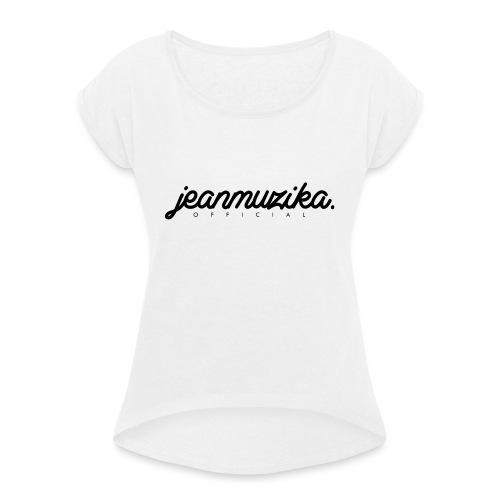 JeanMuzika Logo schwarz - Frauen T-Shirt mit gerollten Ärmeln