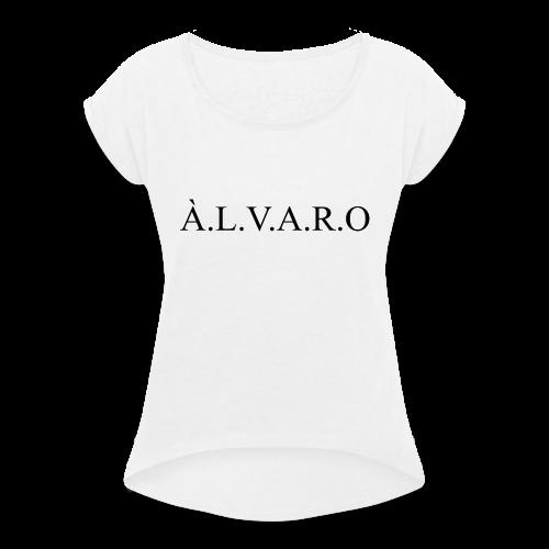 Alvaro Classic Black - Frauen T-Shirt mit gerollten Ärmeln