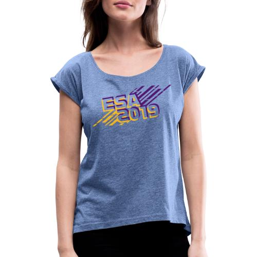 ESA 2019 - Summer Gold and Purple - Women's T-Shirt with rolled up sleeves