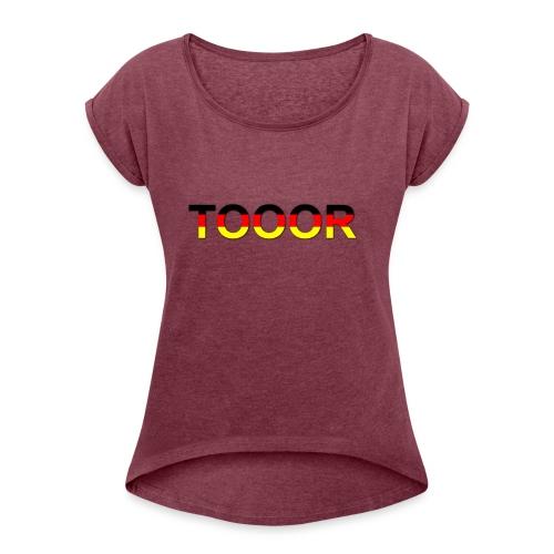 TOOOR-Schatten-transparen - Frauen T-Shirt mit gerollten Ärmeln
