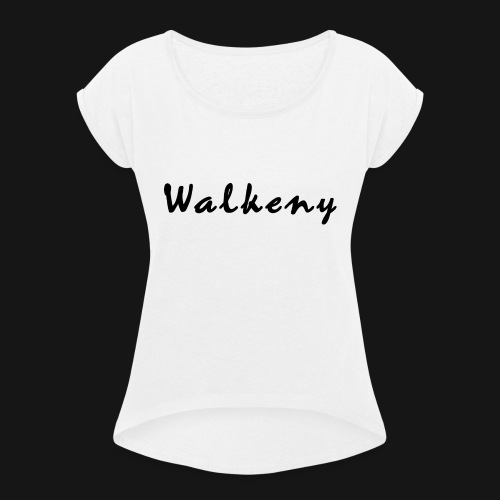 Walkeny Schriftzug - Frauen T-Shirt mit gerollten Ärmeln