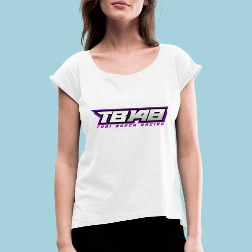 Tob Logo Lila - Frauen T-Shirt mit gerollten Ärmeln