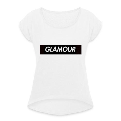 Glamour - Naisten T-paita, jossa rullatut hihat