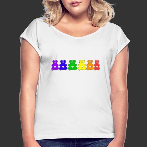 Bärenlust Regenbogen Bären-Reihe - Frauen T-Shirt mit gerollten Ärmeln