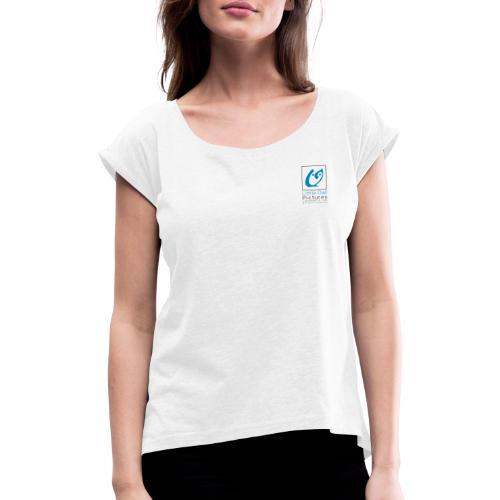 Little Owl Pictures Logo (schwarz/blau) - Frauen T-Shirt mit gerollten Ärmeln