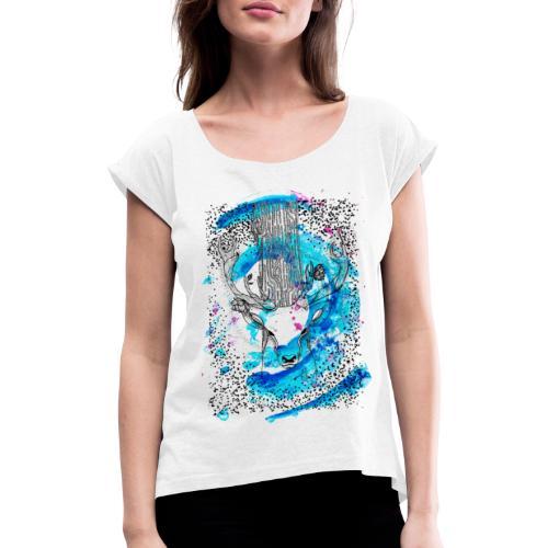 cerf aqua - T-shirt à manches retroussées Femme