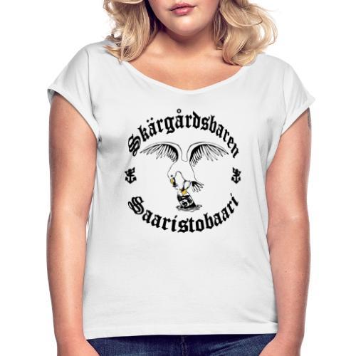Black logo - Naisten T-paita, jossa rullatut hihat