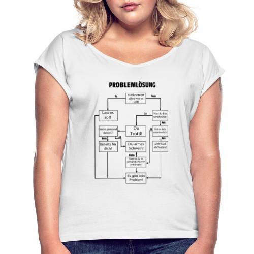 Problemlösung Flussdiagramm - Frauen T-Shirt mit gerollten Ärmeln