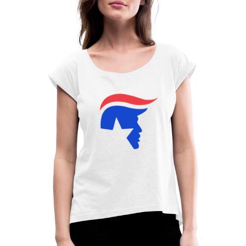 Trump Logo - Frauen T-Shirt mit gerollten Ärmeln
