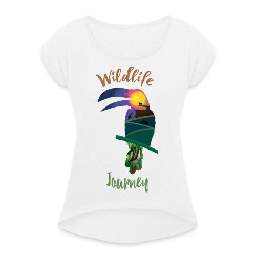 Wildlife Journey - Frauen T-Shirt mit gerollten Ärmeln