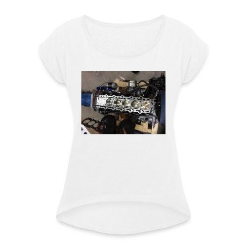 Motor tröja - T-shirt med upprullade ärmar dam