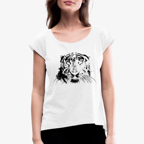 BLACK TIGER - Camiseta con manga enrollada mujer