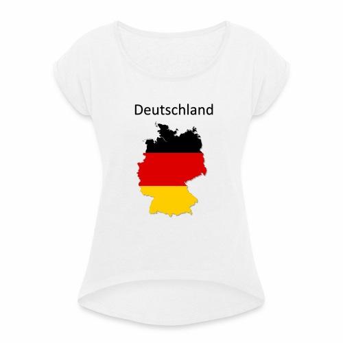 Deutschland Karte - Frauen T-Shirt mit gerollten Ärmeln